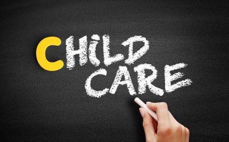 """""""child care"""" written on a blackboard"""