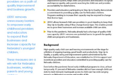 LB351 seeks to remove unnecessary barriers to increase child care capacity, quality