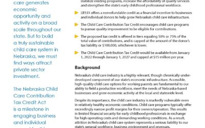 LB531: Incentivizing child care quality, capacity through private investment