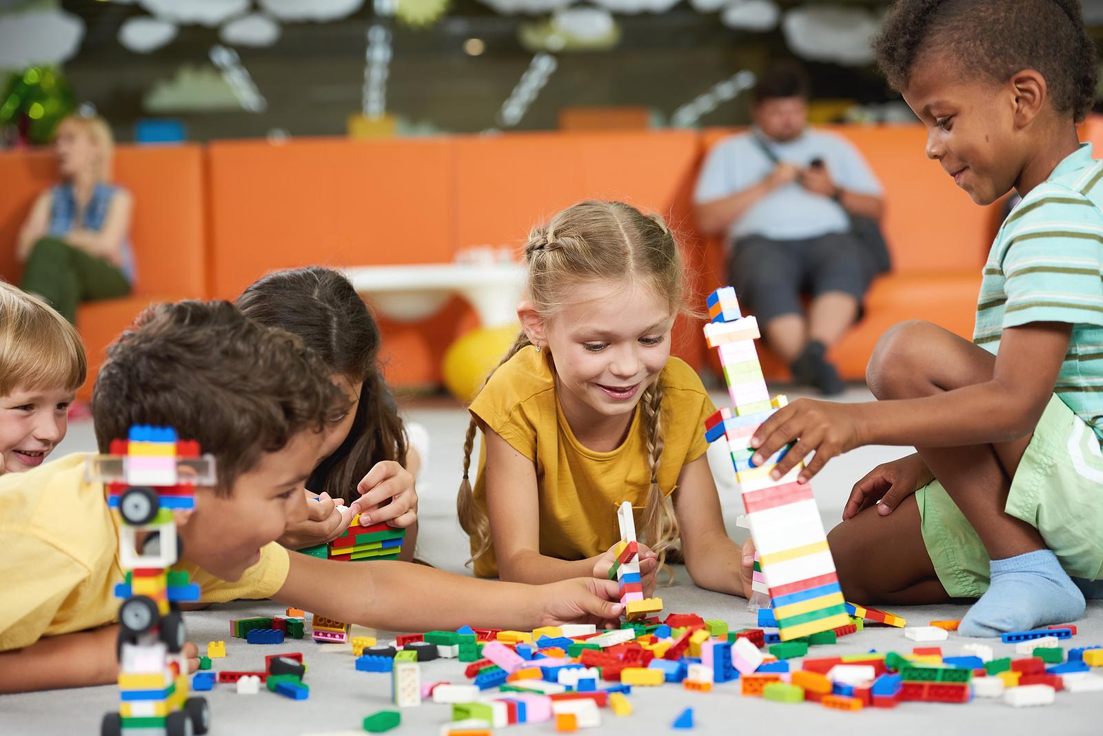 Children building with blocks